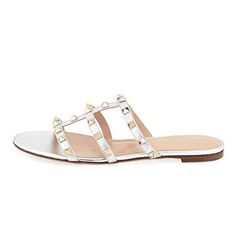 (VOCOSI Women's Flat Heel Sandals with Rivets Slide Slipper Dress for Casual Summer Silver 6 US)