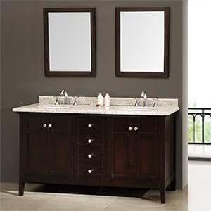 New Waves Reni 60 Double Sink Vanity Silver Grey Granite Countertop Bathroom Vanities