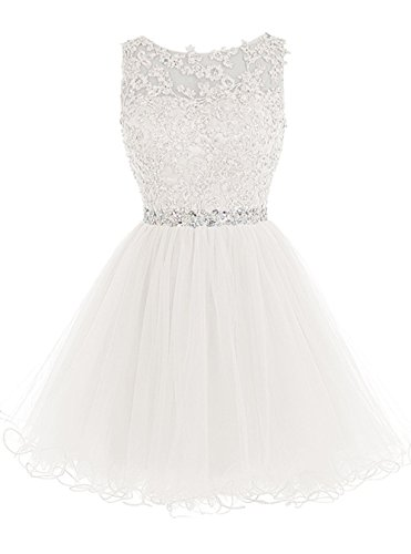 WDING Short Tulle Homecoming Dresses Appliques Beads Prom Party Gowns (US2, Ivory)