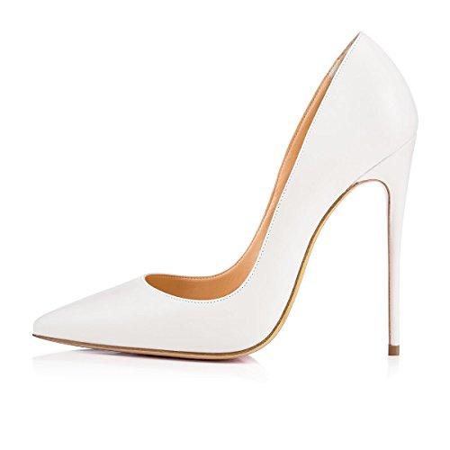 Stilettos Talon Talons Femme Escarpins Chaussures uBeauty Blanc 120MM Taille Talon Grande Haut Chaussures Aiguille Chaussures PU Femmes qtFwwxPO