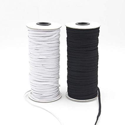 TENDEEVOLUTION Elastico Piatto per mascherine 8 mm Bianco o Nero Made in Italy Bianco, 5 Metri