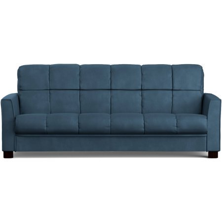 Mainstays Baja Microfiber Futon Sofa Sleeper Bed, Medium Blue