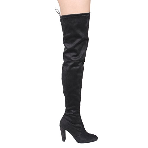 Diva Stretchy The Drawstring Lounge Wild Women's Boots Amaya 12 Over Knee Block Black Heel aUndqxwRgx