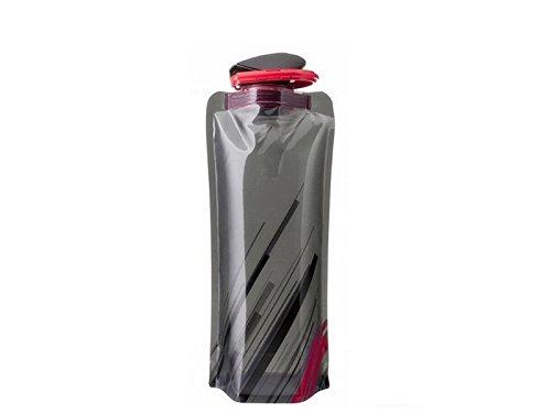XDXDWEWERT 700ML Folable Wasserflaschen zusammenklappbar Flexible reetable Wasserflasche fü r Wandern Abenteuer Reisen (schwarz)