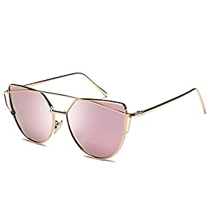 Joopin Fashion Women Metal Frame Cat Eye Sunglasses Classic Brand Designer Mirror Flat Panel Lens UV400 Coating Sunglasses (Gold Frame Pink Lens)