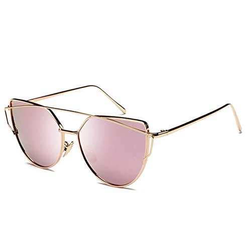 Joopin Fashion Women Metal Frame Cat Eye Sunglasses Classic Brand Designer Mirror Flat Panel Lens UV400 Coating Sunglasses (Gold Frame Pink - Sunglasses Brow Bar