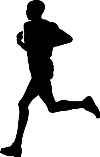 (Sports Silhouette Wall Decals - Man Running Runner Silhouette - 24 inch Removable Graphic)