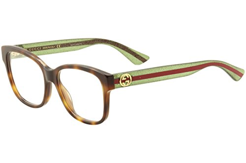 Gucci - GG0038O Optical Frame ACETATE (Avana/Green, - Gucci Eyewear Mens