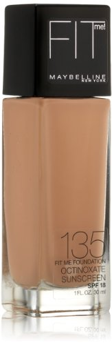 Maybelline New York Fit Me! Foundation, 135 Creamy Natural, SPF 18, 1.0 Fluid Ounce