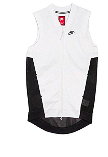 Nike Womens Tech Fleece Mesh Cocoon Jacker/Vest White Black (X-small)