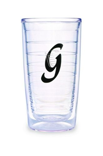(Tervis Tumbler Black Laser Twill Initial - G 16-Ounce Double Wall Insulated Tumbler Set of 4)