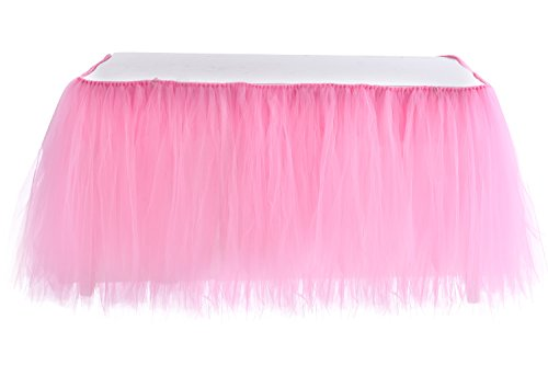 Table Skirt | Tutu Tulle 1 Yard Centerpiece Tableware Cover for Wedding Birthday Baby Shower Slumber Party Decoration (Pink)