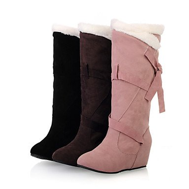 Botas de Mujer Otoño Invierno Comfort polipiel vestido caminando hebilla talón de cuña Brown