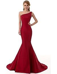 GEORGE DESIGN Brief Elegant Burgundy Mermaid One-Shoulder Evening Dress