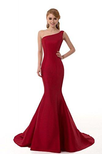Ball Gown Designer Prom Evening - GEORGE DESIGN Brief Elegant Burgundy Mermaid One-Shoulder Evening Dress Size 4 Burgundy