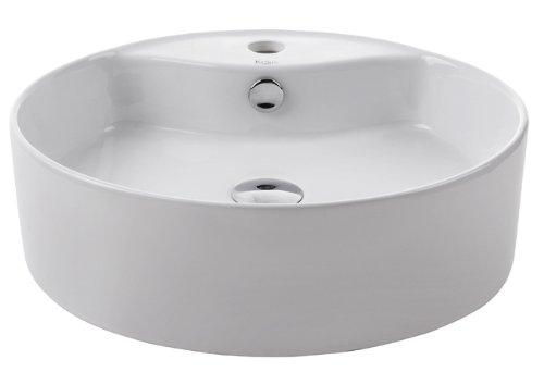 Kraus KCV-142-CH Ceramic Above counter Round Bathroom Sink, 18.5 x 18.5 x 5.5 inches, Chrome/White