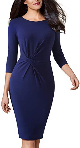 VELJIE Women Vintage Wear to Work Knot Business Party Pencil Dress (Dark Blue,6) ()