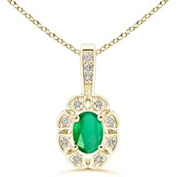 Diamond Halo Oval Emerald Flower Pendant Necklace for Women (6x4mm Emerald)