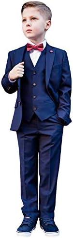 ボーイズスリムフィット3ピーススーツ2ボタンノッチラペルタキシードベスト&ズボン