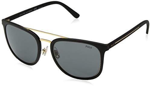 (Polo Ralph Lauren Men's 0ph4144 Square Sunglasses Matte Gold Rubber Black 53.0 mm)