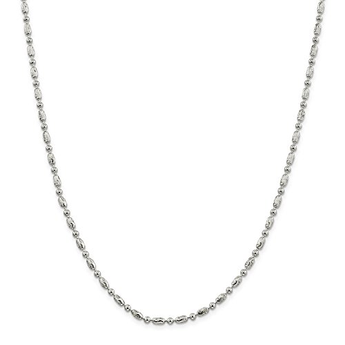 925 Sterling Silver 3mm Polished and Textured Oval Bead Chain Necklace 24