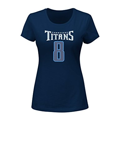 VF LSG NFL Tennessee Titans Marcus Mariota 8 Women's Her Highlight Player Program Short Sleeve Deep Crew Neck Tee, XX-Large, Navy