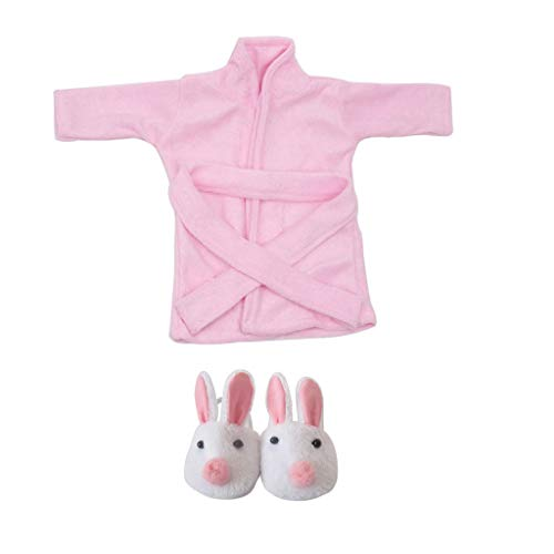 shangmu Doll Clothes Pink Bathrobe with Waistband Suit Pajamas and Slippers Used for 18inch Doll Dress Up