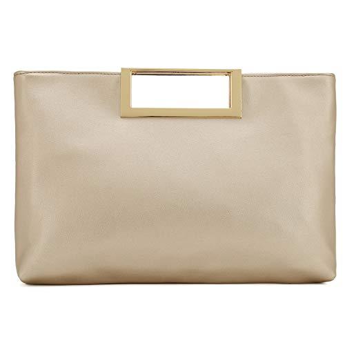 Charming Tailor Fashion PU Leather Handbag Stylish Women Convertible Clutch Purse (Gold)