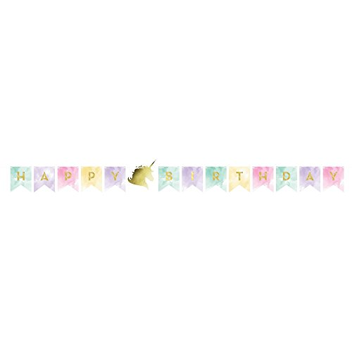 Creative Converting 329312 Happy Birthday Banner, Unicorn Sparkle