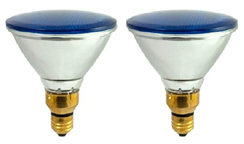 Pack of 2 70Par38/FL/B Halogen 70-Watt, Floodlight, Medium Based (E26), PAR38 Reflector Colored Bulb, Blue