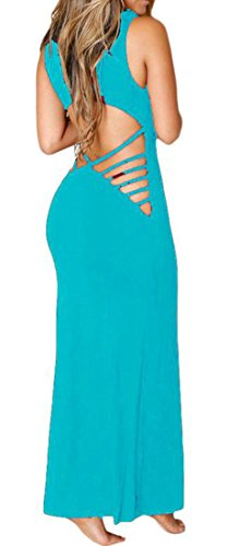 Sexy Long Formal Cromoncent Backless Dress Prom Sleeveless Womens Light Party Clubwear Blue Fwx58O45