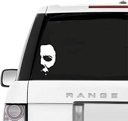 8702e5a59f41 Image Unavailable. Image not available for. Color  A B Traders Car Decals  Michael Myers Creepy Half Face 5.8 quot  White Vinyl Decals Scary Horror