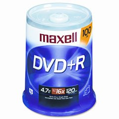 DVD+R Discs, 4.7GB, 16x, Spindle, Silver, 100/Pack by Maxell�