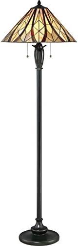 Quoizel TFVY9359VA Victory Tiffany Floor Lamp, 2-Light, 200 Watts, Valiant Bronze 59 H x 19 W