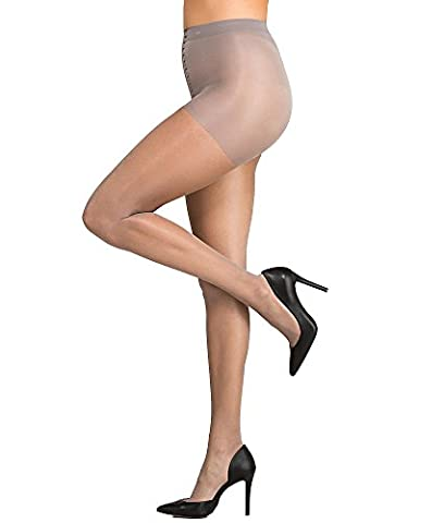 CK Women's Shimmer Sheer Pantyhose with Control Top, Pearl Grey, Size D - Womens Shimmer