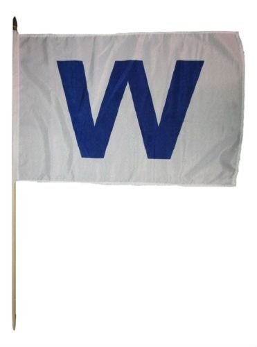 Moon Knives 12x18 12''x18'' Wholesale Lot of 3 Chicago Cubs '' W '' Win Stick Flag Wood Staff Best Garden Outdor Decor Polyester Material Flag Premium Vivid Color and UV Fade Resistant ()
