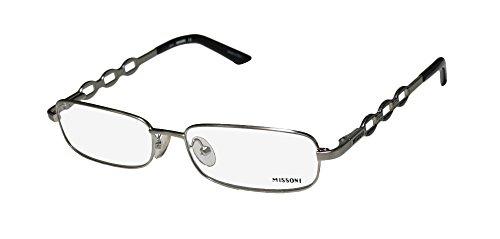 Missoni 11701 Womens/Ladies Oval Full-rim Strass Flexible Hinges Eyeglasses/Eyeglass Frame (53-16-130, Brushed Silver / - Glasses Frames Missoni