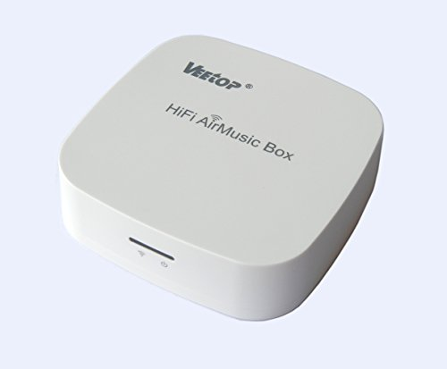 Veetop® HiFi AirMusic Box (Multi-room Streaming with non-free Whaale App) – AirPlay,DLNA WiFi Wireless Music Receiver for iOS(iPhones, iPads&mini,iPod touch,Mac Books), Android (Smartphones and tablets) & Windows(Laptop/PC) - Turns any existing Speakers Docks & Sound Systems into Wireless Streaming Systems (Wolfson DAC, Crystal Sound)(AMB18,White)