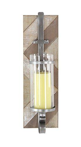 Glass Wood Candle - Deco 79 94621 Metal, Wood and Glass Candle Sconce, 19