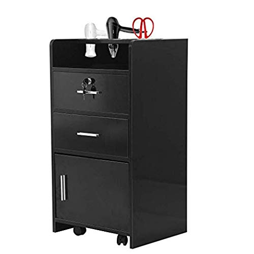HOBBYN Beauty Utility Cart,Salon Wood Rolling Drawer Cabinet Trolley Spa 3-layer Cabinet Equipment with 3 Dryer Holes