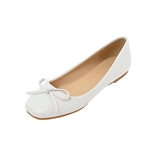 Low Women's White On Toe WeiPoot Closed Shoes Pull Pumps Heels Solid PU tSHw1WBwq