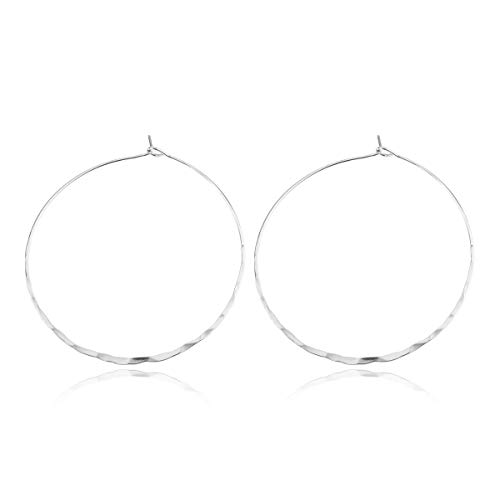 RIAH FASHION Simple Lightweight Geometric Statement Hoop Earrings - Classic Thin Wire Delicate Round (Textured Hoops - Medium Silver)