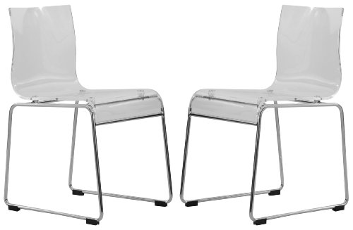 LeisureMod Walker Mid-Century Acrylic Dining Chair with Chrome Base in Clear, Set of 2