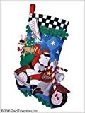 Bucilla 18-Inch Christmas Stocking Felt Appliqué Kit, 86016 Cruising Santa