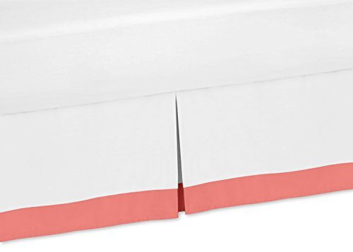 Sweet Jojo Designs White and Coral Toddler Bed Skirt for Gir