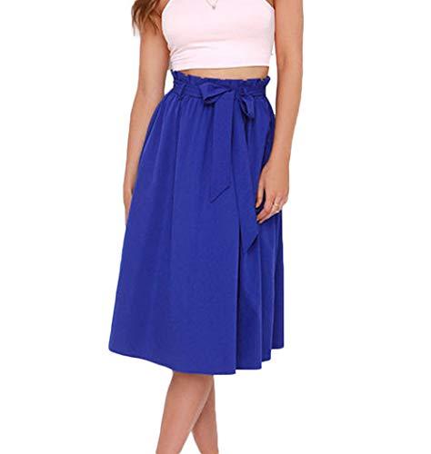 Chic Haute avec A Midi Femmes Ligne Taille Plisse Rtro Bleu Ceinture S Jupe Jupe 3XL dx8wXvqCw