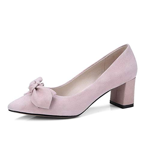 Womens Sheepskin Toe DGU00827 Pumps 2 Pink AN UK Pointed Square Bows Shoes Heels 0wS6dF