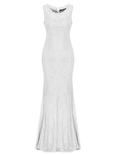 Sylviey Womens Retro Floral Lace Wedding Bridemaid Gown Sleeveless Maxi dress (Small, White)