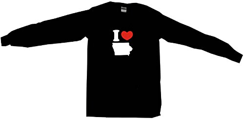 I Heart Love Iowa Silhouette Women's Regular Fit Tee Shirt XXL (2XL)-Black Long Sleeve