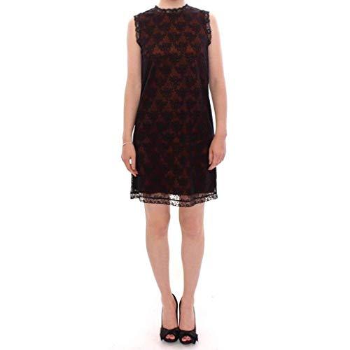 Dolce&Gabbana orange black floral lace shift dress IT42 / M / US8